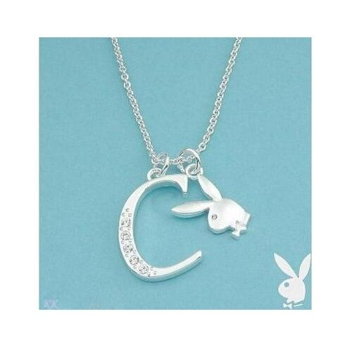Playboy Necklace Letter C Pendant Bunny Charm Swarovski Crystal Silver Chain Box
