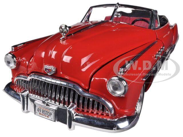 1949 BUICK ROADMASTER RED/BLACK CUSTOM 1/18 DIECAST MODEL CAR BY MOTORMAX 79004