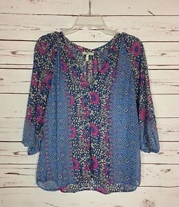 Joie Women's XXS Extra Extra Small Blue Purple Floral Silk Spring Top Blouse