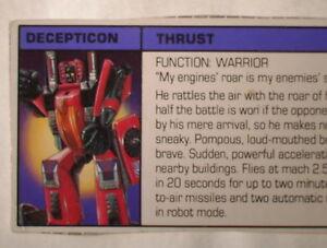 Transformers-G1-VINTAGE-1985-Thrust-Hasbro-Tech-Specs-File-Card-C-6-Condition