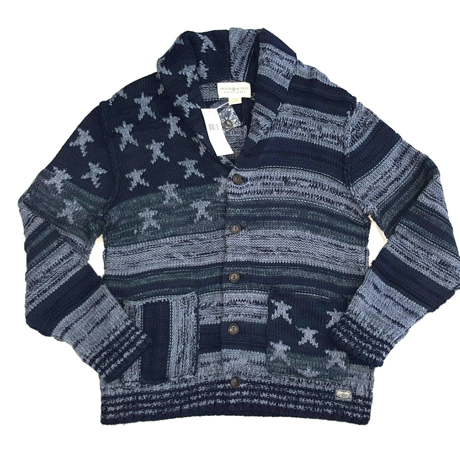 DENIM & SUPPLY RALPH LAUREN AMERICANA U.S.A CARDIGAN SWEATER Blau