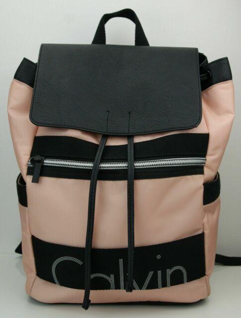 Calvin Klein Jeans Damen Rucksack Backpack Tasche schwarz rosa Nylon silber