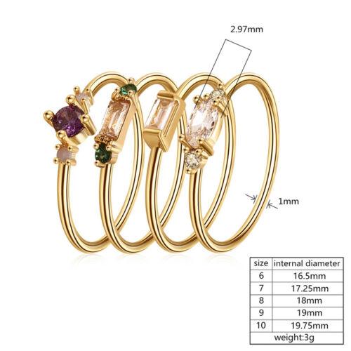 4Pcs//Set Bagues Femmes Fashion Alliage Créatif Simple Colorful Diamond Ring