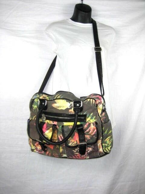 c35054fb1b99 Puma Womens Duffle Tote Bag Black Multicolor Tropical Print Gym Crossbody