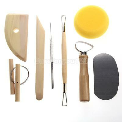 8 Pcs Pottery Tool Set Clay Ceramics Molding Needle Cutter Loop Ribbon Tools Kit