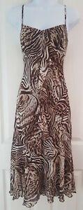 Womens Per Una Dress M&S midi size 10 animal print fit&flare brown holiday vgc