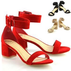 Mujer-Mediados-Talon-Sandalias-De-bajo-correa-de-tobillo-Damas-Fiesta-Dama-De-Honor-Zapatos-Puntera