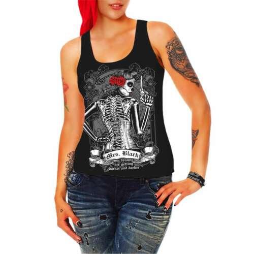Black Gothik Muerte Metal Emo 666 alternative girl Frauen Trägershirt Top Mrs
