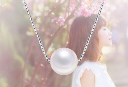 exklusive LED Holzbox Perlen Kette Halskette aus 925 Silber mit 10mm Perle