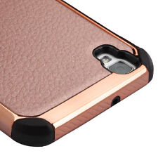 ROSE GOLD Lychee SKIN COVER CASE + SCREEN FILM For LG Tribute HD / X STYLE PHONE