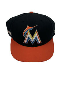 New Era 9Fifty Miami Marlins Adjustable Snapback Hat OSFA Black Orange Brim