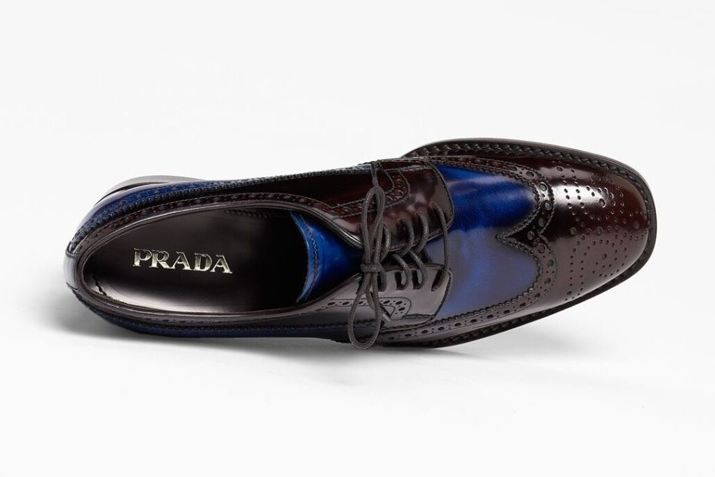 PRADA Blue Brown Brogue Leather Wing Tip Oxford Sneaker Loafers 41