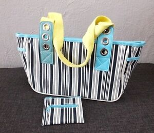 maritim Handtasche Tasche gestreift mit Schlüsselband und Geldbörse