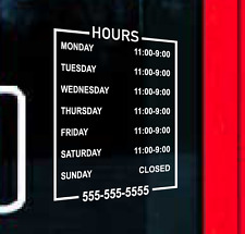Custom Business Hours Sign Vinyl Personalized Lettering Decal Phone Retail Bs10