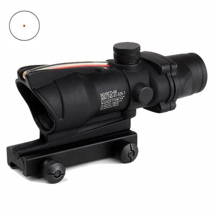ACOG Style 1X32 Red Dot Sight with working Red Fiber Optic Airsoft UK Selller