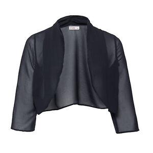 genial-Abend-Transparent-Chiffon-Bolero-Jaeckchen-Blusen-Jacke-Gr-40-42-schwarz