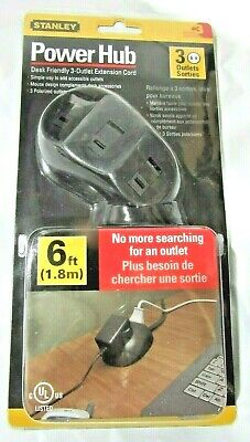 Black Stanley 31369 Three Outlet Power Hub with 6-Foot Cord
