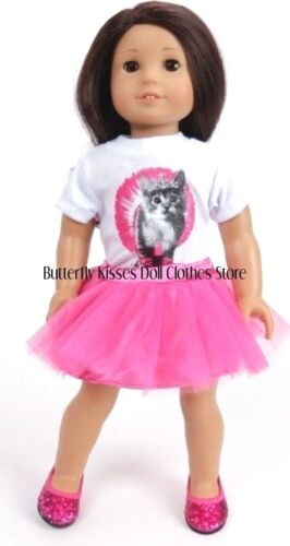 Tutu Skirt 18 in Doll Clothes Fits American Girl Ballet Kitty Cat Shirt