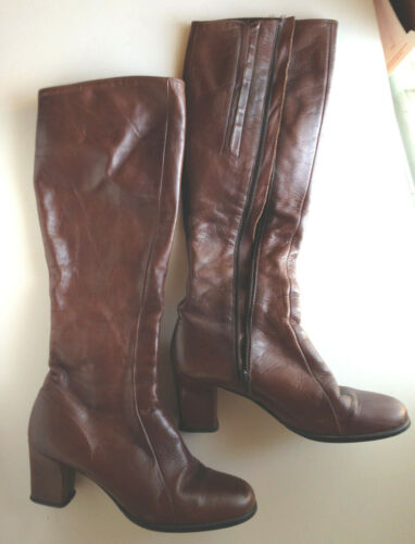 VTG GOLO BOOTS  Tall Riding Boots Brown Leather SZ