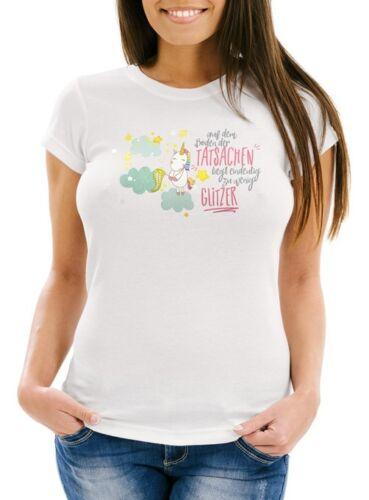 Damen T-Shirt auf dem Boden der Tatsachen liegt eindeutig zu wenig Glitzer Slim