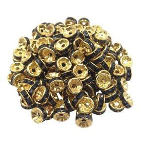 20-Perles-Rondelle-strass-Dore-8mm-Couleur-Noir-Creation-Bijoux-Collier