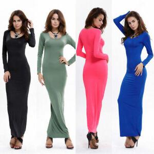 Nouveau-Haut-Femmes-Jersey-Uni-Manches-Longues-Evase-Extensible-Robe-Longue-Grande-Taille