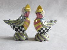 Mackenzie Childs PICCADILLY EARLY BIRD SALT & PEPPER SHAKER SET NEW mc15