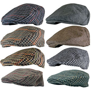 Homme-Hiver-Anglaise-Laine-Casquette-Plate-Gavroche