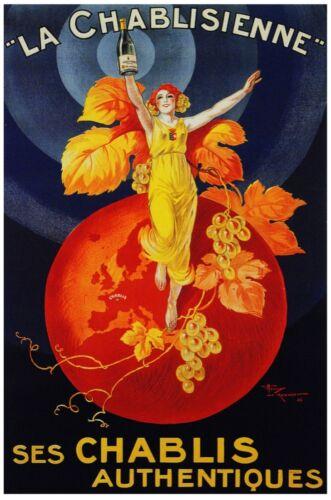 7577.La chablisienne.Woman in yellow dress olds bottle.POSTER.art wall decor