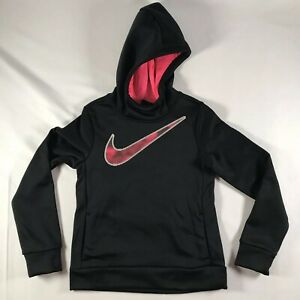 Details about new NIKE GIRLS THERMA DRI FIT PULLOVER Black HOODIE size small AR0168 010 NWT