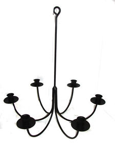Image Is Loading Hand Forged Black Wrought Iron 6 Arm Candle