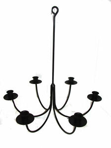Details About Hand Forged Black Wrought Iron 6 Arm Candle Chandelier Usa Amish Made Farmhouse