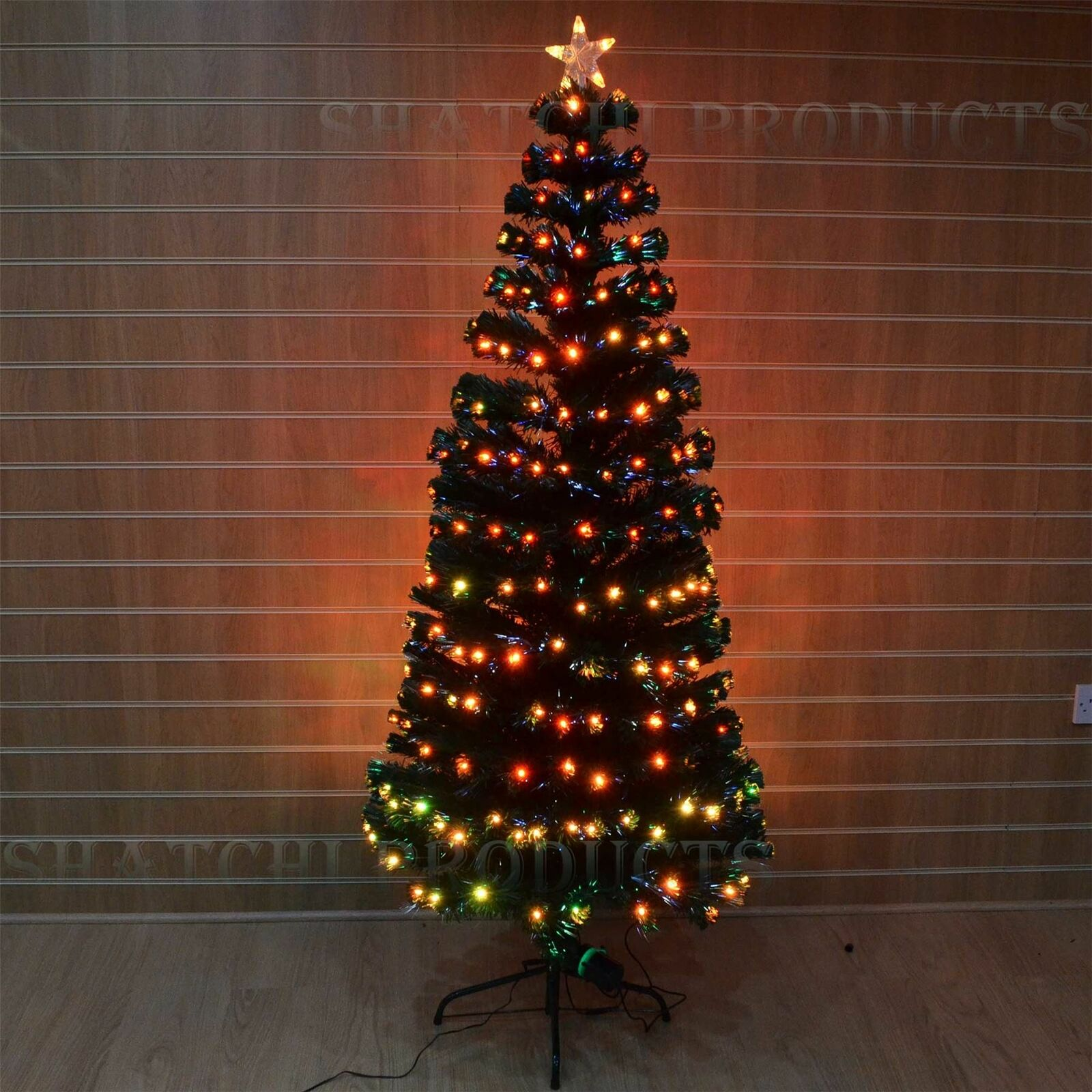 8ft 240cm Pre Lit Fibre Optic Christmas Tree Xmas Lights Home Decor Decorations