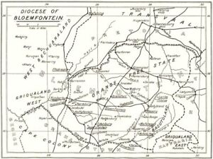 Bloemfontein South Africa Map.Details About South Africa Diocese Of Bloemfontein Missions Stations Church Work 1922 Map