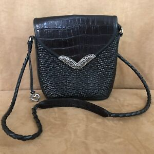 63f143d55 Image is loading Brighton-Crossbody-purse-black-woven-leather -crocodile-Vintage-