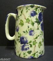 Heron Cross Pottery Ivy ROSE (BLUE) Chintz English 1/2 Pint Milk Jug