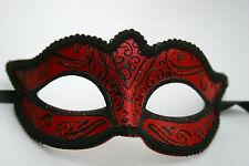 Splendido da Uomo o Donna Nero & Rosso Veneziano Masquerade Party Carnevale Occhi Maschera