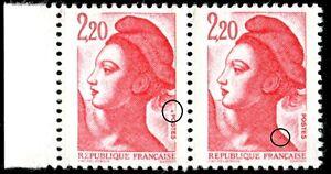 TIMBRE-VARIETES-LIBERTE-2-20-ROUGE-N-Yvert-2376-L40Z