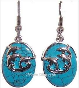 Dolphins Turquoise Earrings Silver Plated Design Handmade Jewelry Gift Dangle