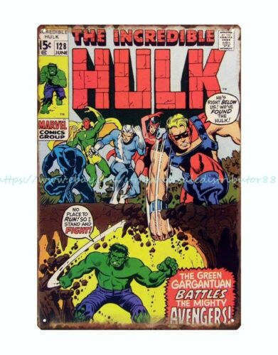 kitchen sign decor  comics incredible Hulk metal tin sign