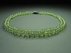 Vintage-Czech-Bohemian-2-Row-Clear-amp-Green-Glass-Lampwork-Bead-Necklace-Rare