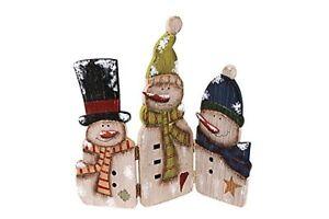 Folding Wood Antique Snowmen Screen Happy Christmas Winter