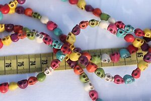 7x6x8mm-Natural-Howlite-Dyed-Skull-Mixed-Color-039-s-Stone-Beads-16-034-Strand-50pcs
