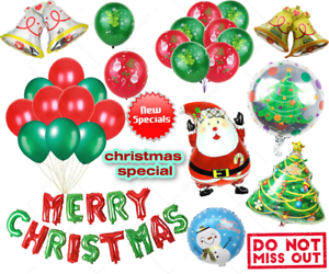 Merry Christmas Balloons Xmas Tree Santa Face Snowman Night Theme Party Balon UK