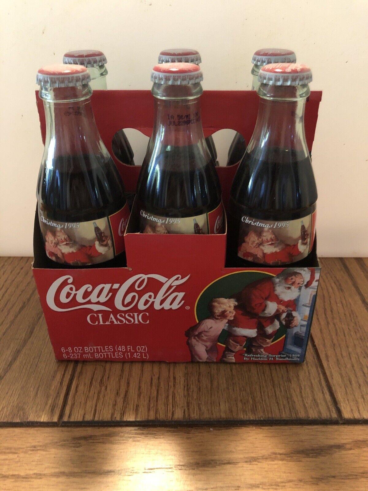 Vintage Coca~Cola Classic 6-8oz Glass Bottles w// Case Christmas 1995 Sunblom