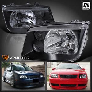 For-99-05-VW-Jetta-Bora-MK4-Black-Headlights-Head-Lamps-w-Fog-Lights-Pair