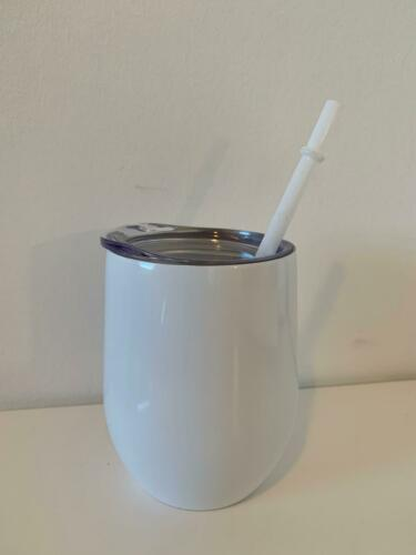 Wine tumbler 12 oz Insulated Stainless steel with lid and straw BNIB