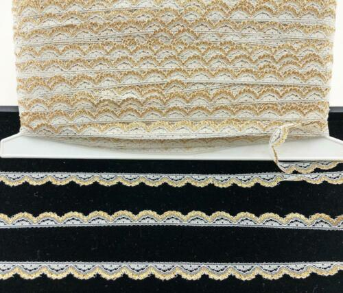 """LACE Vintage 1//2/"""" wide Trim 10 yds White//Gold Sewing Doll Clothes Crafts Lot 107"""