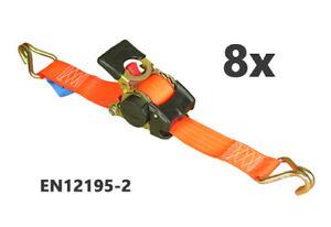 8x ZURRPACK® Automatik-Span<wbr/>ngurt 25mm x 1,8m 500kg/daN Automatischer Zurrgurt