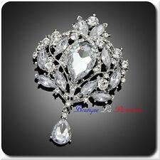 Luxus XL Brosche Vintage  Braut Strass Kristall  Silber/Klar 95 mm X 70mm Premiu